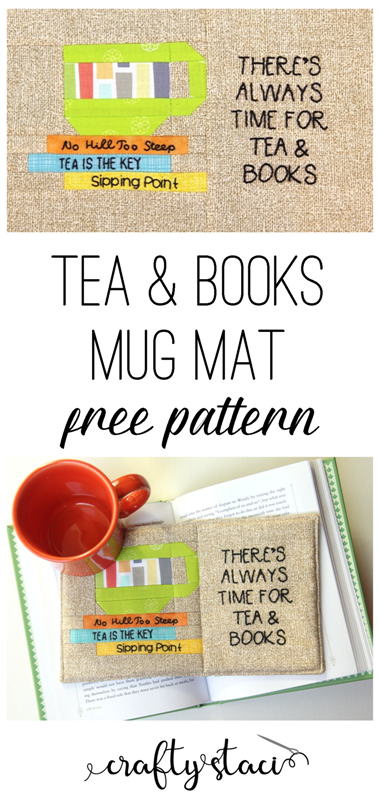 Tea and Books Mug Mat from craftystaci.com #mugmats #mugrugs #paperpiecing
