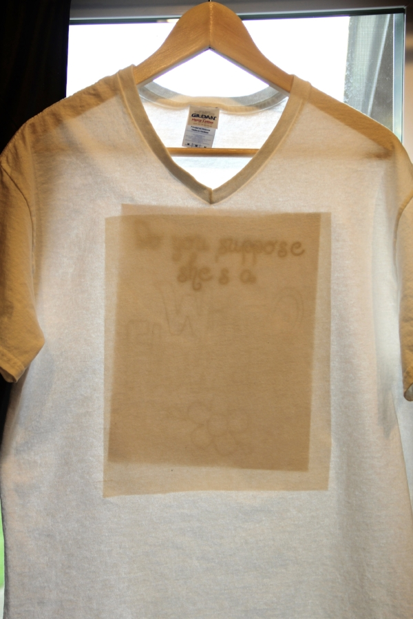 Alice in Wonderland T-shirt prepping for tracing