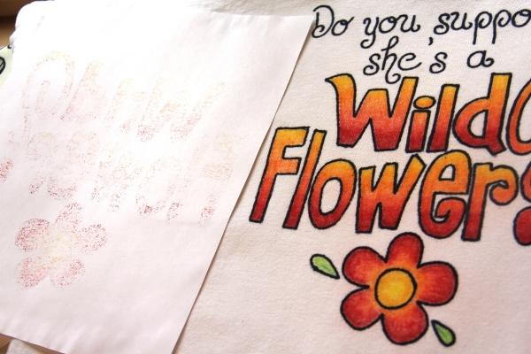 Alice in Wonderland T-shirt ironing to set wax