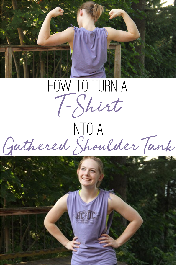 How to Turn a T-Shirt into a Gathered Shoulder Tank on craftystaci.com
