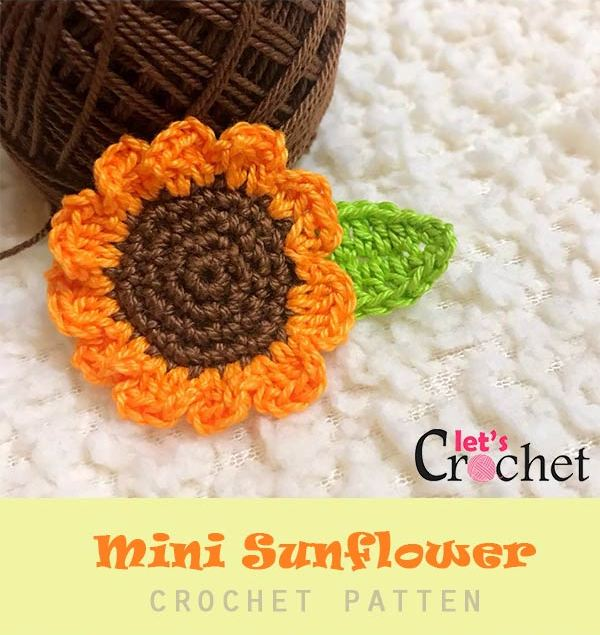Mini Crochet Sunflower from Lets Crochet