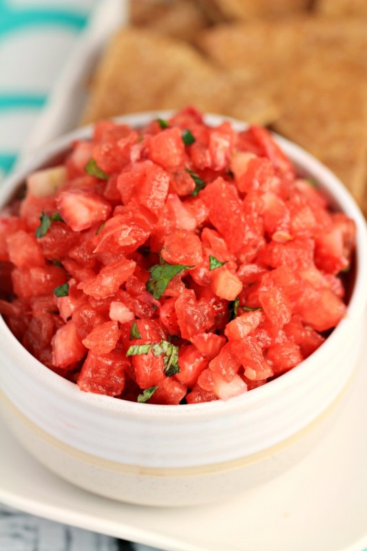 Watermelon Salsa with Cinnamon Tortilla Chips from Frugal Mom Eh