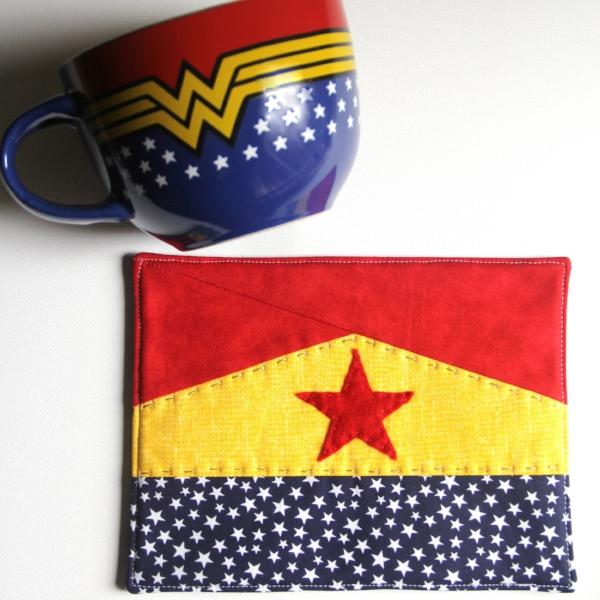 Wonder Woman Mug Mat Free Pattern from Crafty Staci