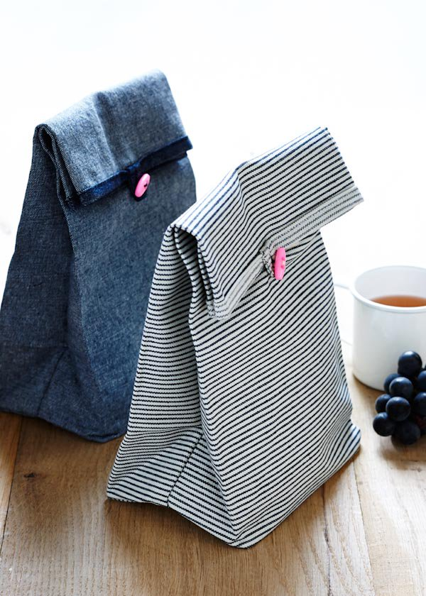Button Lunch Bags from Purl Soho