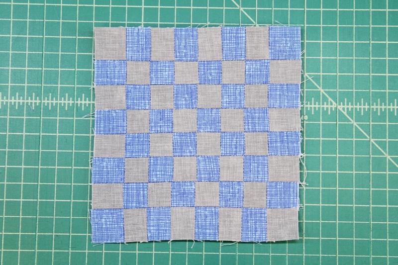 Strips sewn into checker board