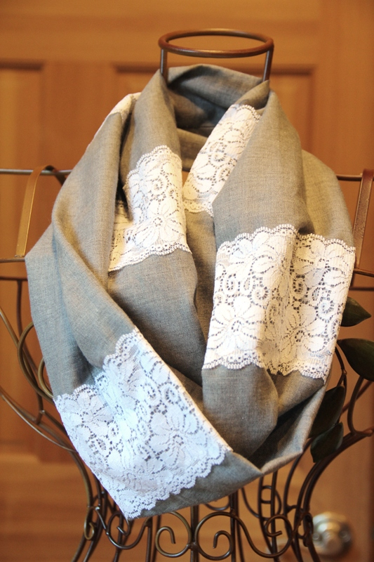Linen and Lace Infinity Scarf - Crafty Staci 11