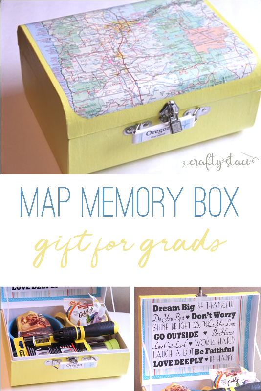 Map Memory Box Gift for Grads on craftystaci.com