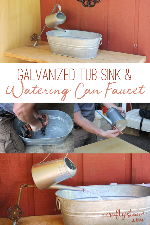 Galvanized Tub Sink and Watering Can Faucet on craftystaci.com #diy #homeimprovement #diywedding