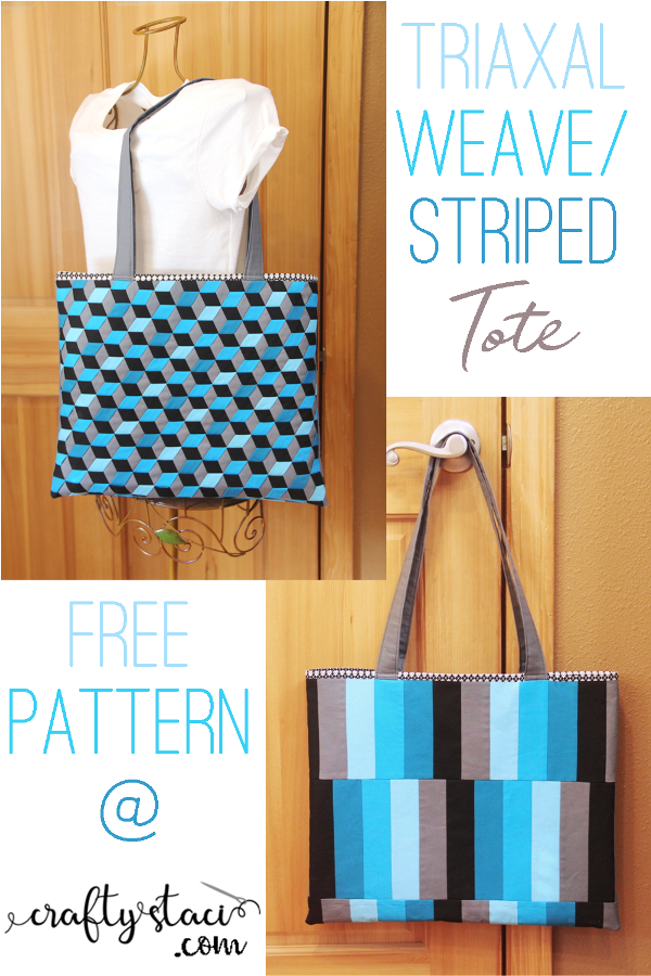 Triaxal Weave Striped Tote from craftystaci.com #freesewingpattern #triaxalweave #madweave #bagpattern