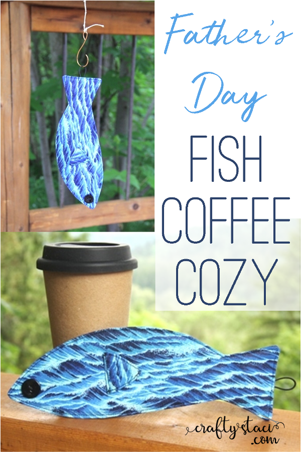 Father's Day Fish Coffee Cozy from craftystaci.com #fathersdaygiftstomake #diygiftsfordad