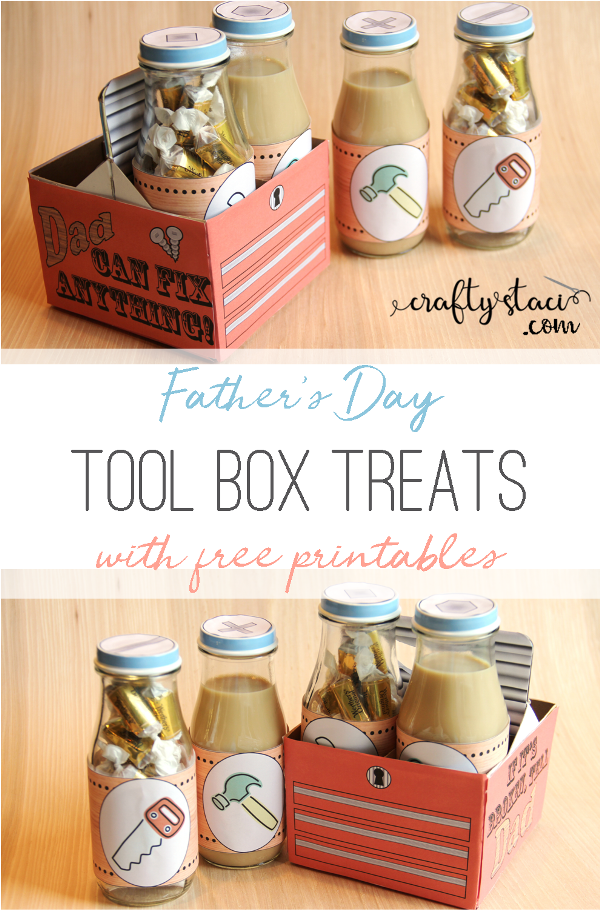 Father's Day Tool Box Treats with free printables from craftystaci.com #giftstomakefordad #fathersdaygift