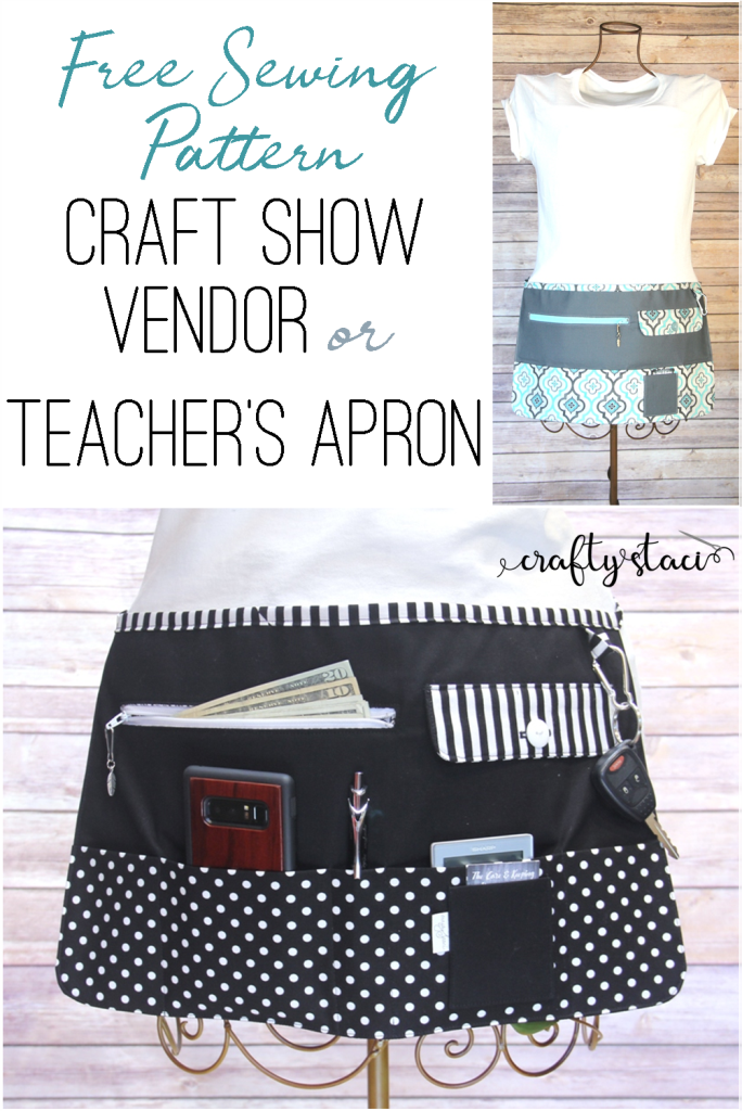 Craft Show Vendor or Teacher's Apron from craftystaci.com #craftshow #freesewingpattern
