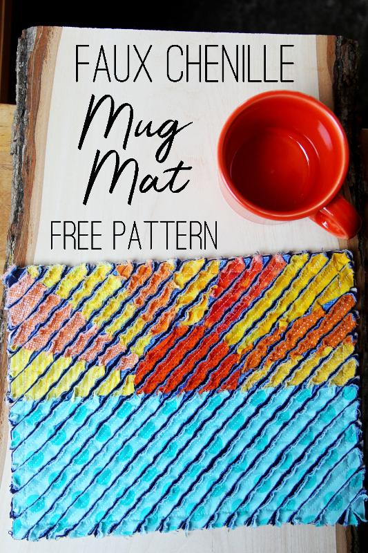 Faux Chenille Mug Mat from craftystaci.com #freesewingpattern #sewingtutorial #mugmat #mugrug