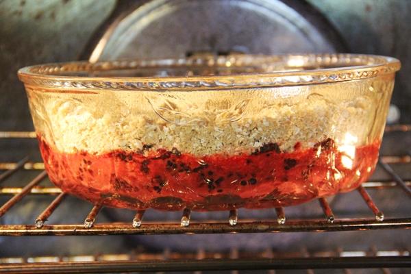 Blackberry crisp in oven