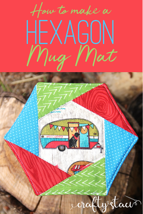 """""""Hexagon"""" is a Free Mug Rug Pattern designed by Staci from Crafty Staci"""