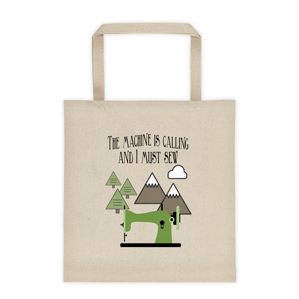 The Machine is Calling Canvas Tote from craftystaci.com #themountainsarecalling #imustgo #sewingtote #sewingbag