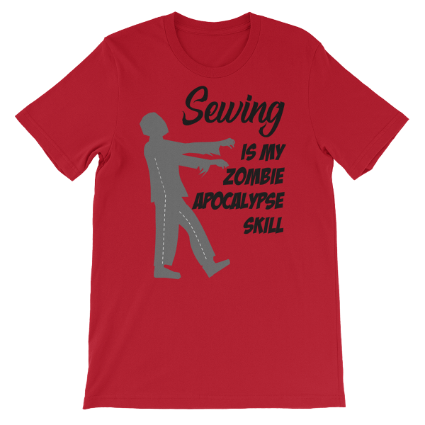 Sewing is my Zombie Apocalypse Skill T-Shirt from craftystaci.com #zombies #sewingshirt #halloweenshirt