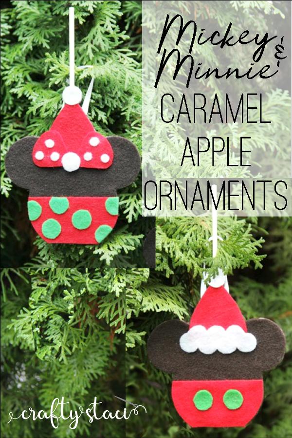 Mickey and Minnie Caramel Apple Ornaments from craftystaci.com #disneycrafts #disneychristmas #mickeyandminnie #disneyland