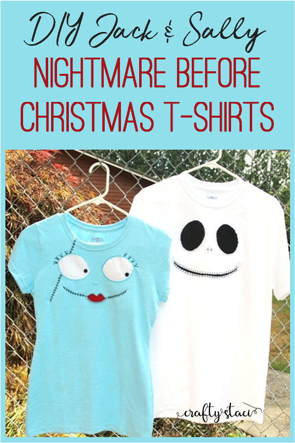 DIY Jack and Sally Nightmare Before Christmas T-Shirts from craftystaci.com #nightmarebeforechristmas #jackandsally #disneycrafts #disneychristmas