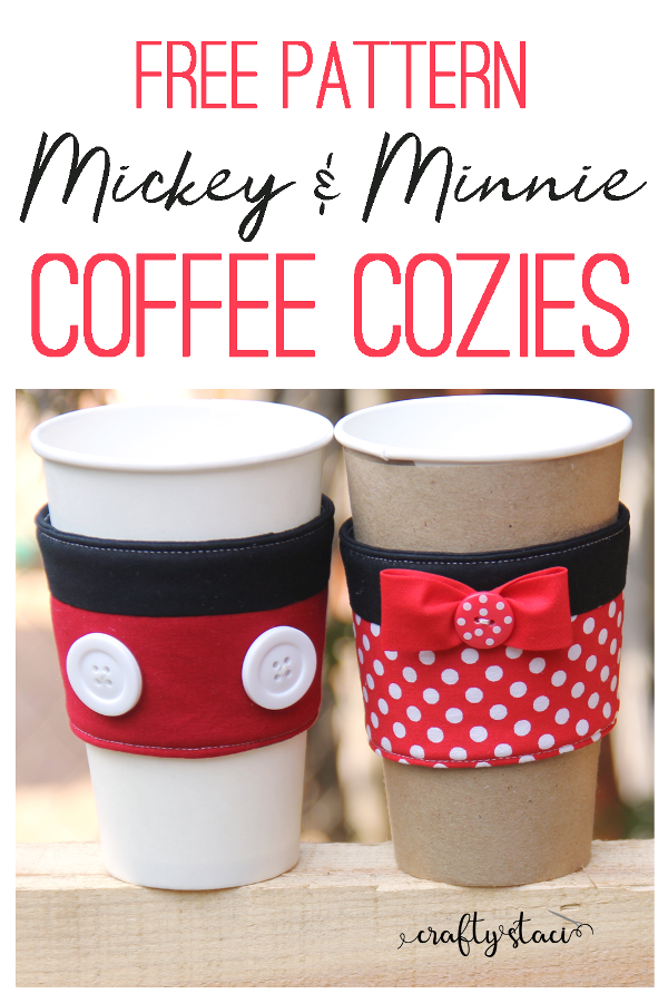 Mickey and Minnie Coffee Cozies from craftystaci.com #disneycrafts #mickeyandminnie #disneyland #disneyworld