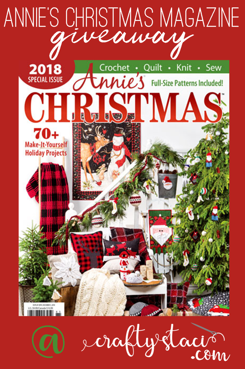 Annie's Christmas Special Magazine Giveaway at craftystaci.com #giveaway #craftmagazine #sewingmagazine