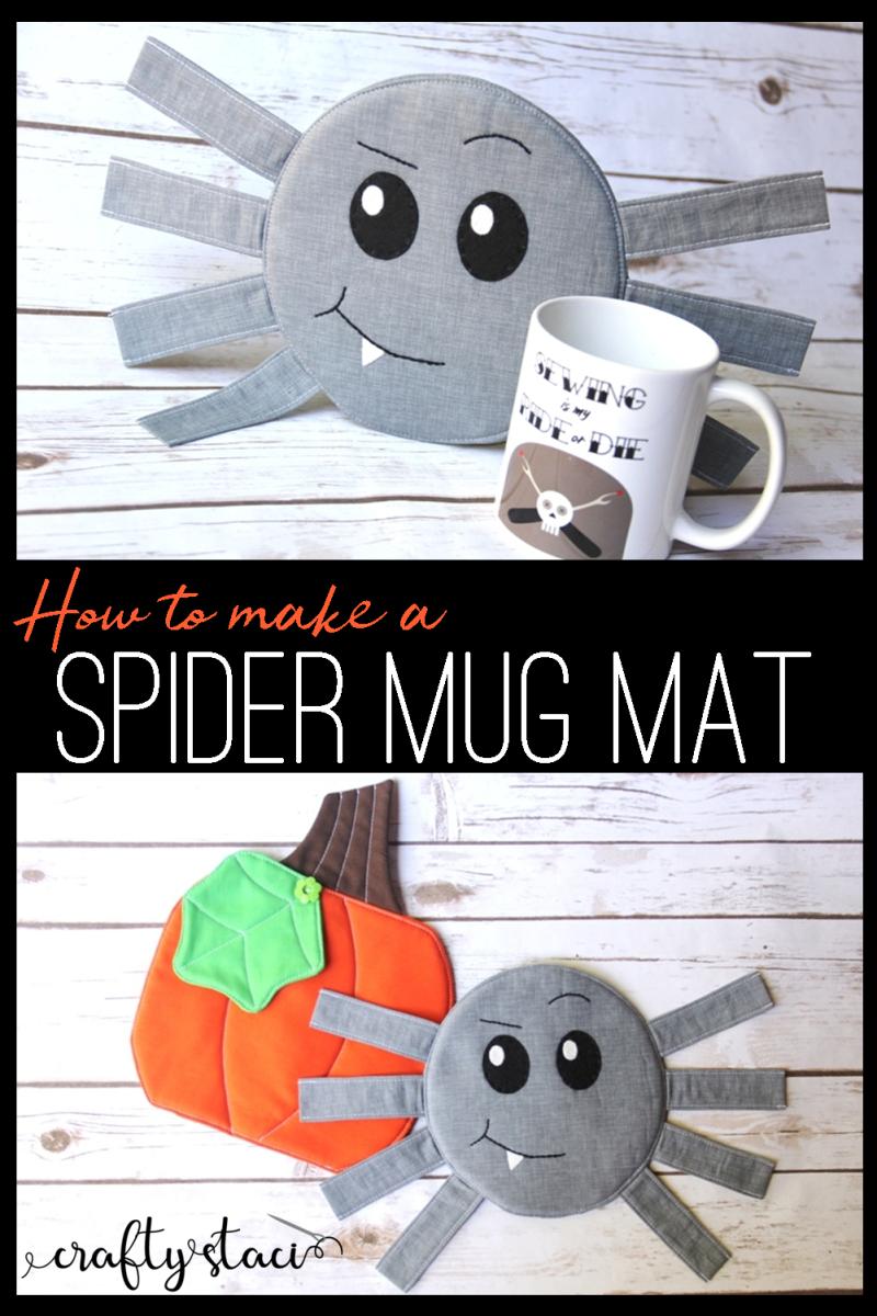 Spider Mug Mat from craftystaci.com #halloweencrafts #halloweensewing #spidercrafts #mugmat #mugrug #halloweendecor