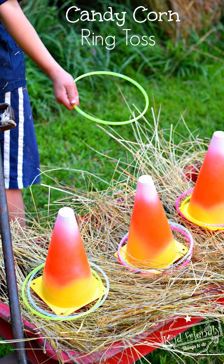 Candy Corn Glow Necklace Ring Toss Game from Kid Friendly Things to Do