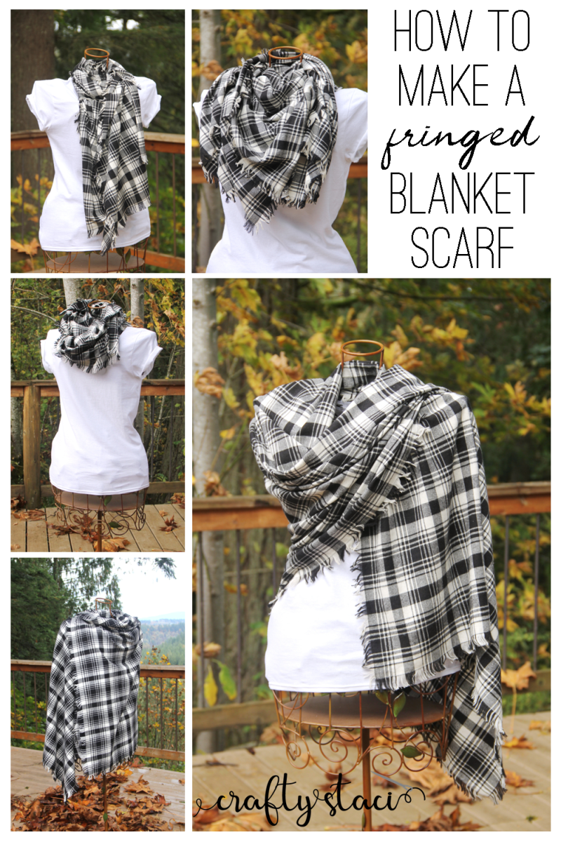 How to Make a Fringed Blanket Scarf on craftystaci.com #easysewing #giftstomakeforher #blanketscarf