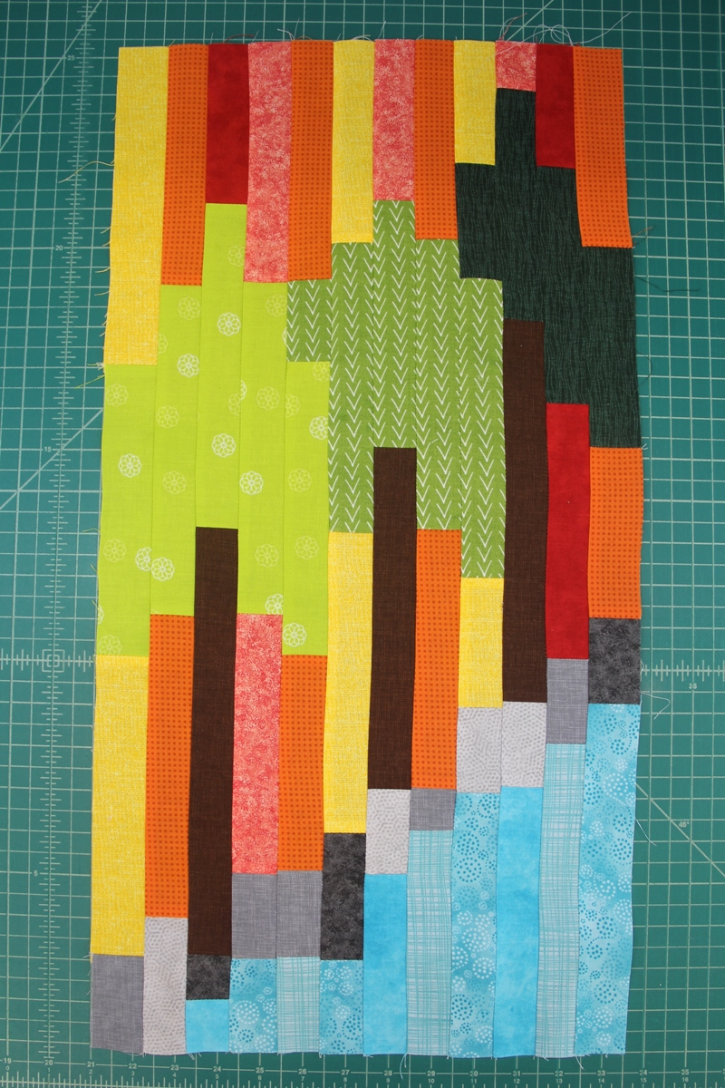 Sew long strips together