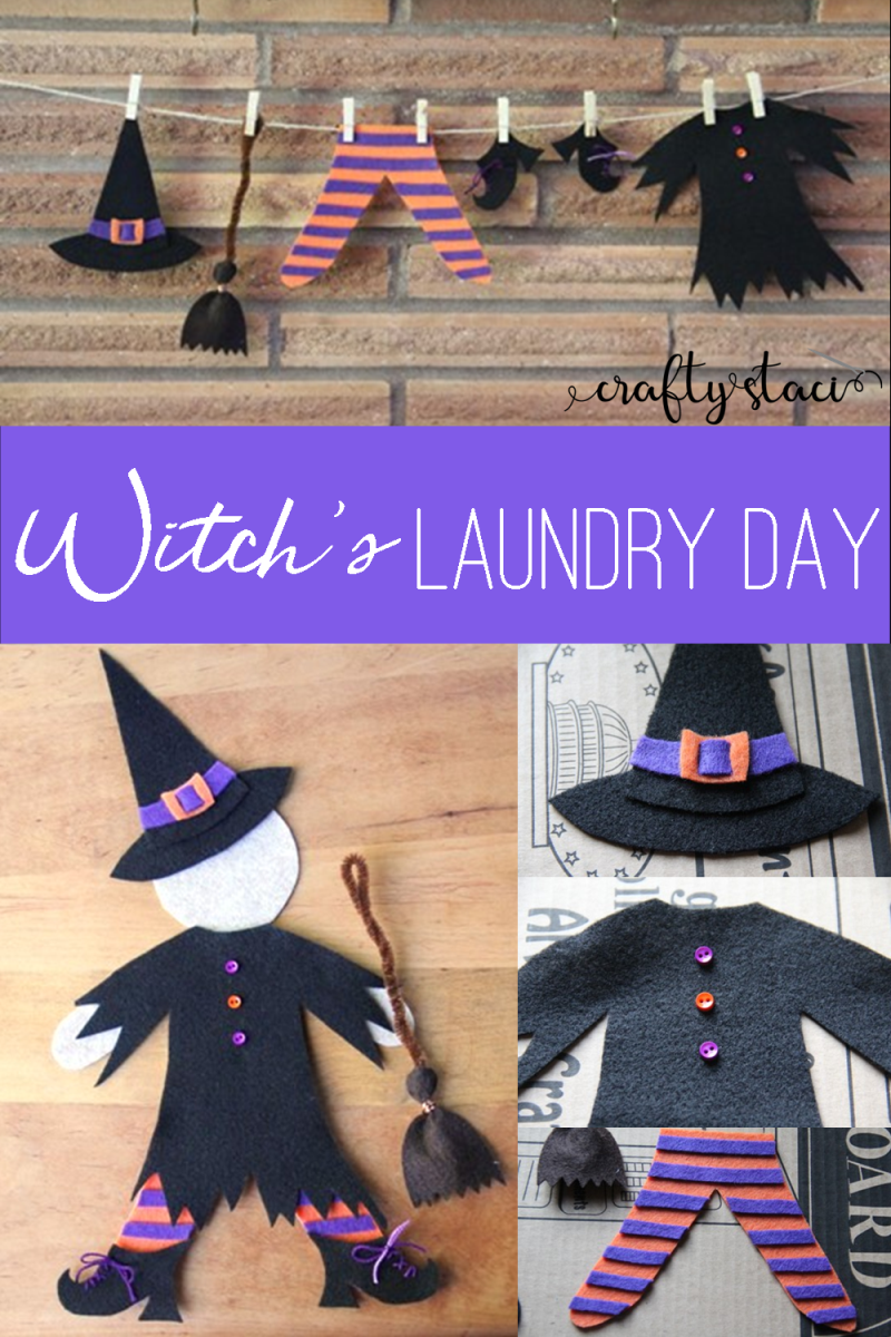 Witch's Laundry Day from craftystaci.com #halloweencrafts #witches #diyhalloween #halloweendecor
