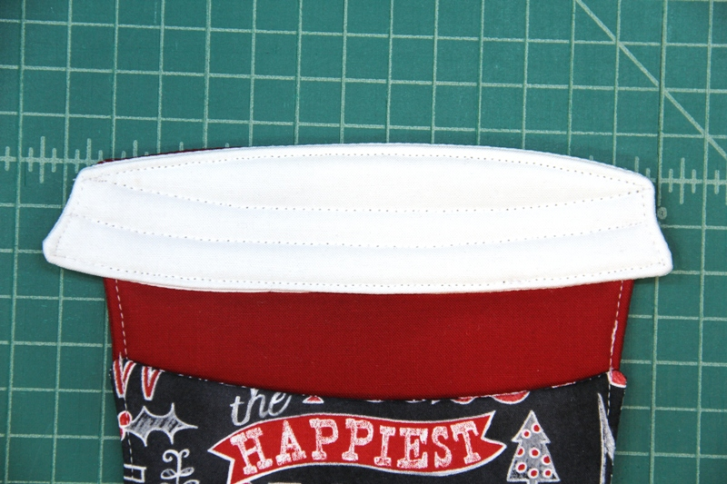 Second row of decorative stitching on lid