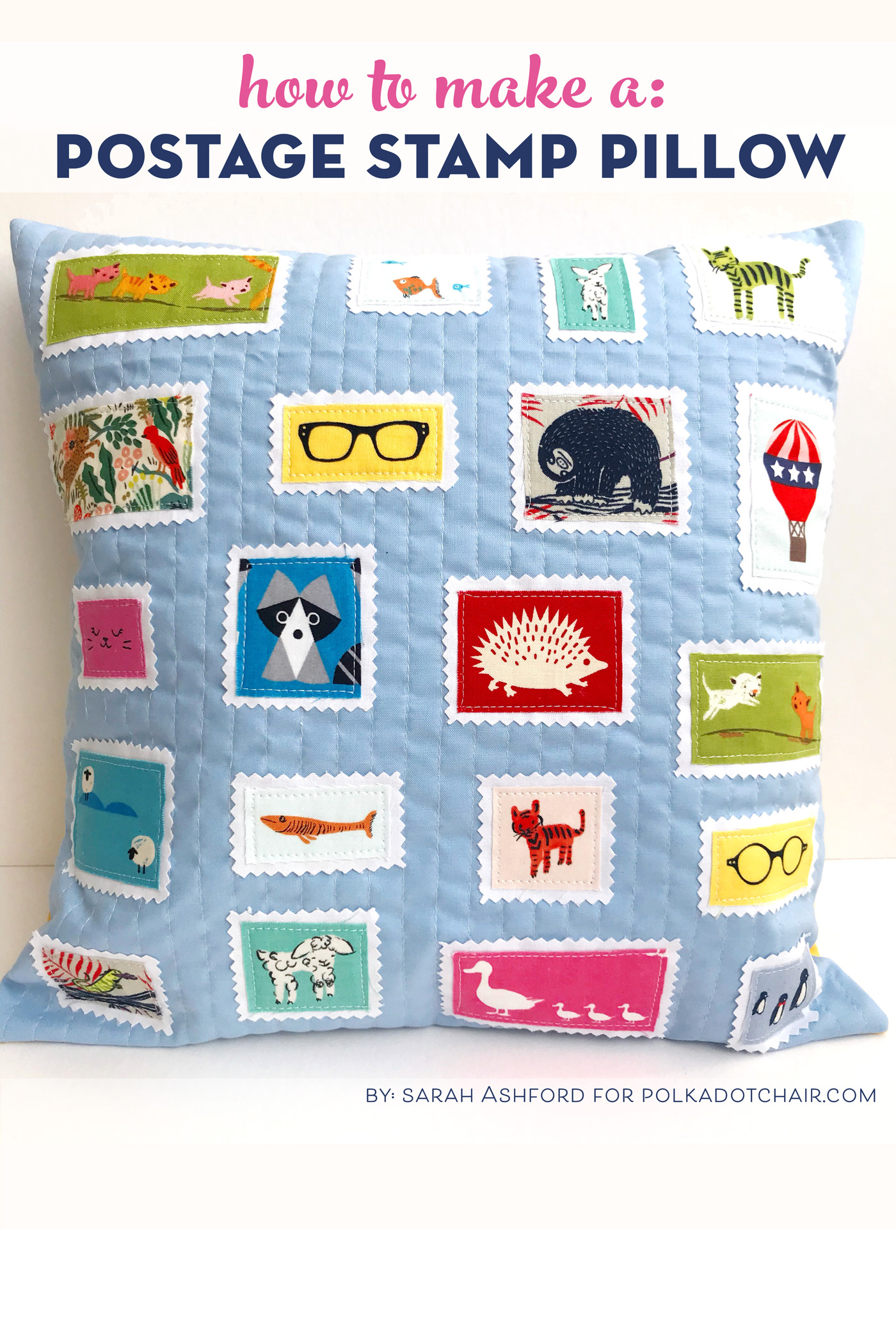 Postage Stamp Pillow from Polkadot Chair