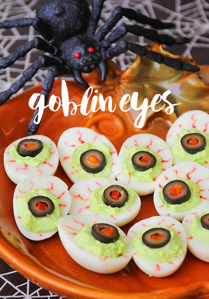 Goblin Eyes Deviled Eggs from Somewhat Simple