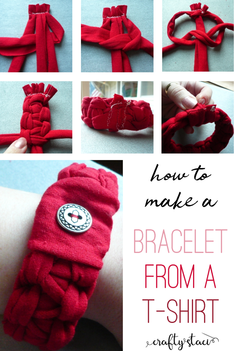 How to make a bracelet from a t-shirt on craftystaci.com #upcycle #makefromatshirt #recycle