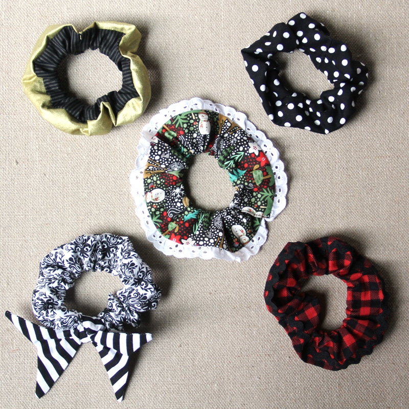 Hair Scrunchies with five variations from craftystaci.com