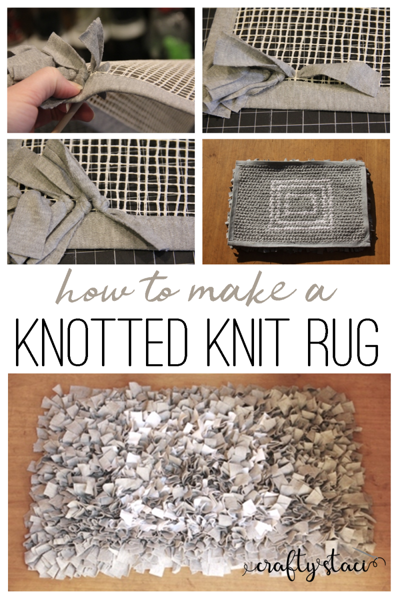How to make a knotted knit rug from craftystaci.com #diyrug #tshirtrecycling