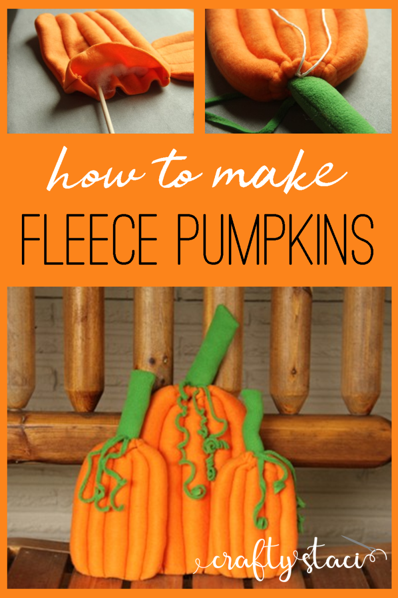 How to make fleece pumpkins from craftystaci.com #pumpkins #diypumpkins #pumpkindecor