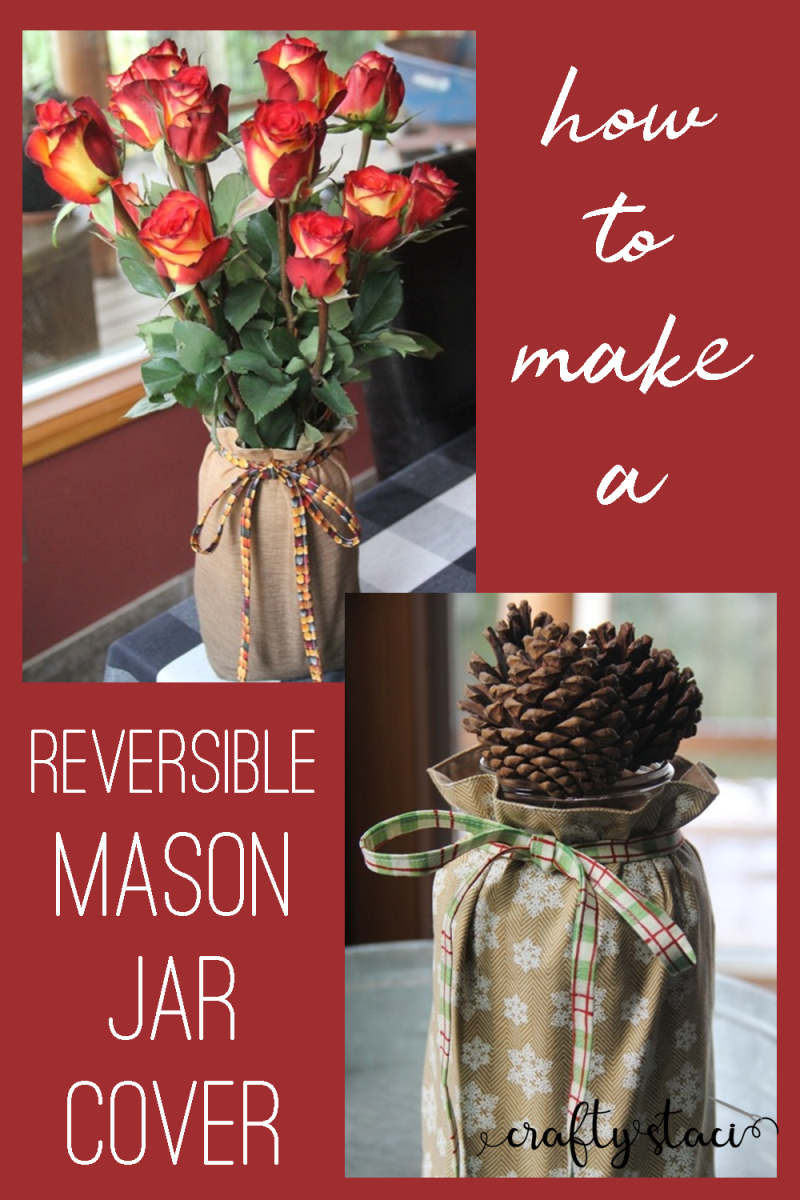 How to make a reversible mason jar cover from craftystaci.com #masonjarcrafts #easytosew #diyholidaydecor