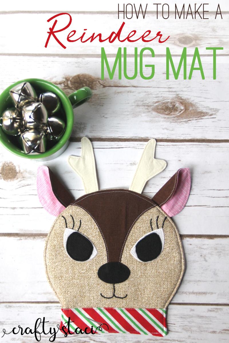 How to make a reindeer mug mat from craftystaci.com #christmassewing #reindeer #mugmat #mugrug