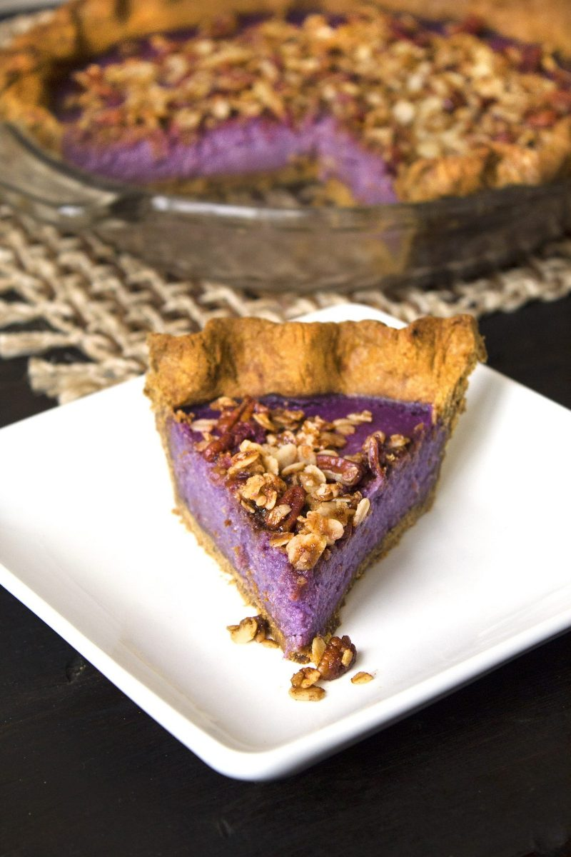 Purple Sweet Potato Pie with Gingerbread Crust from Wife Mama Foodie