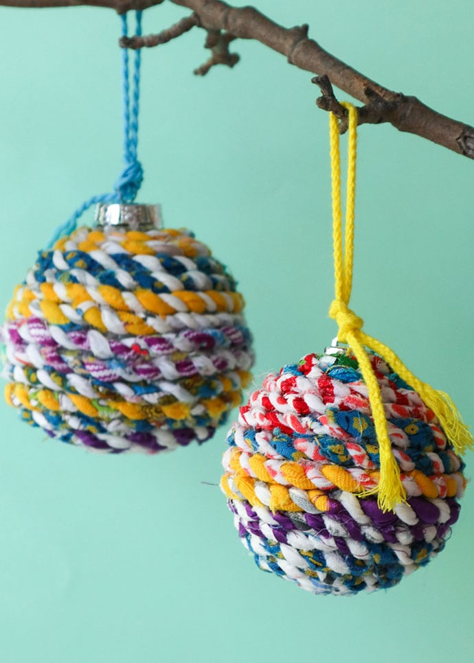 Scrap Fabric Twine Christmas Ornaments from My Poppet