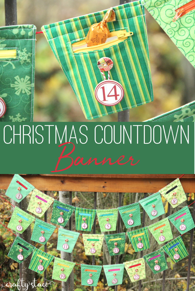 Zippered Christmas Countdown Banner from craftystaci.com #christmascountdown #christmascalendar