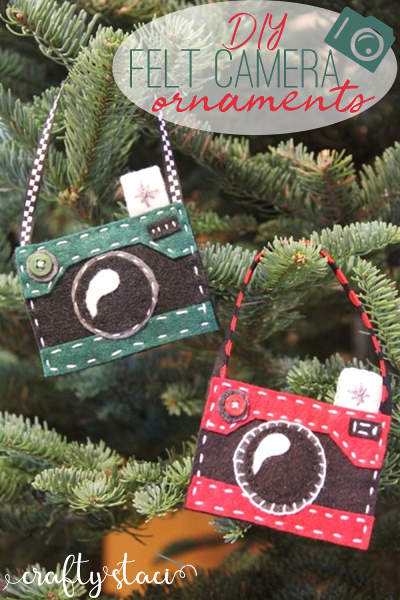 DIY Felt Camera Ornaments from craftystaci.com #christmasornaments #giftsforphotographers