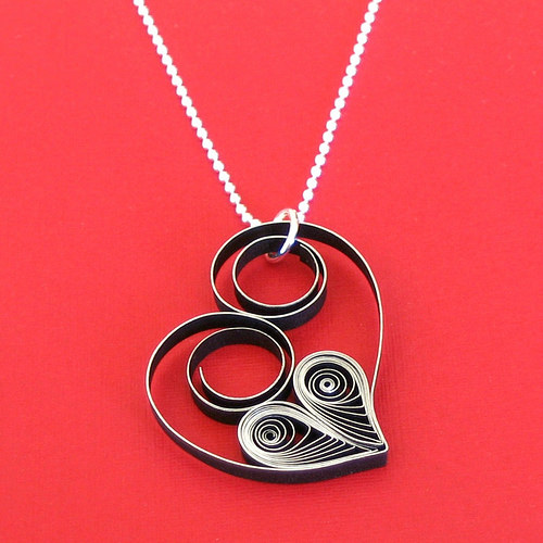 Quilled Heart Necklace from All Things Paper