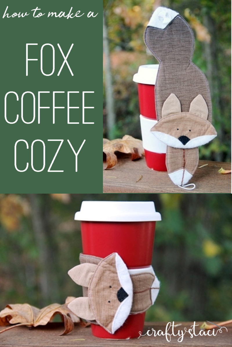 How to make a fox coffee cozy from craftystaci.com #coffeecozy #coffeecupsleeve