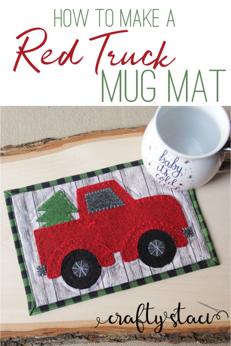 """""""Red Truck"""" is a Free Mug Rug Pattern designed by Staci from Crafty Staci"""