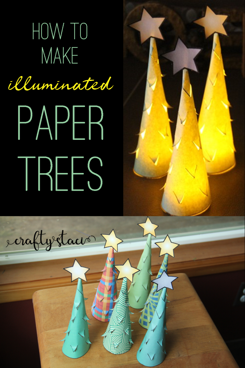 How to make illuminated paper trees from craftystaci.com #printables #christmastree #christmasdecor