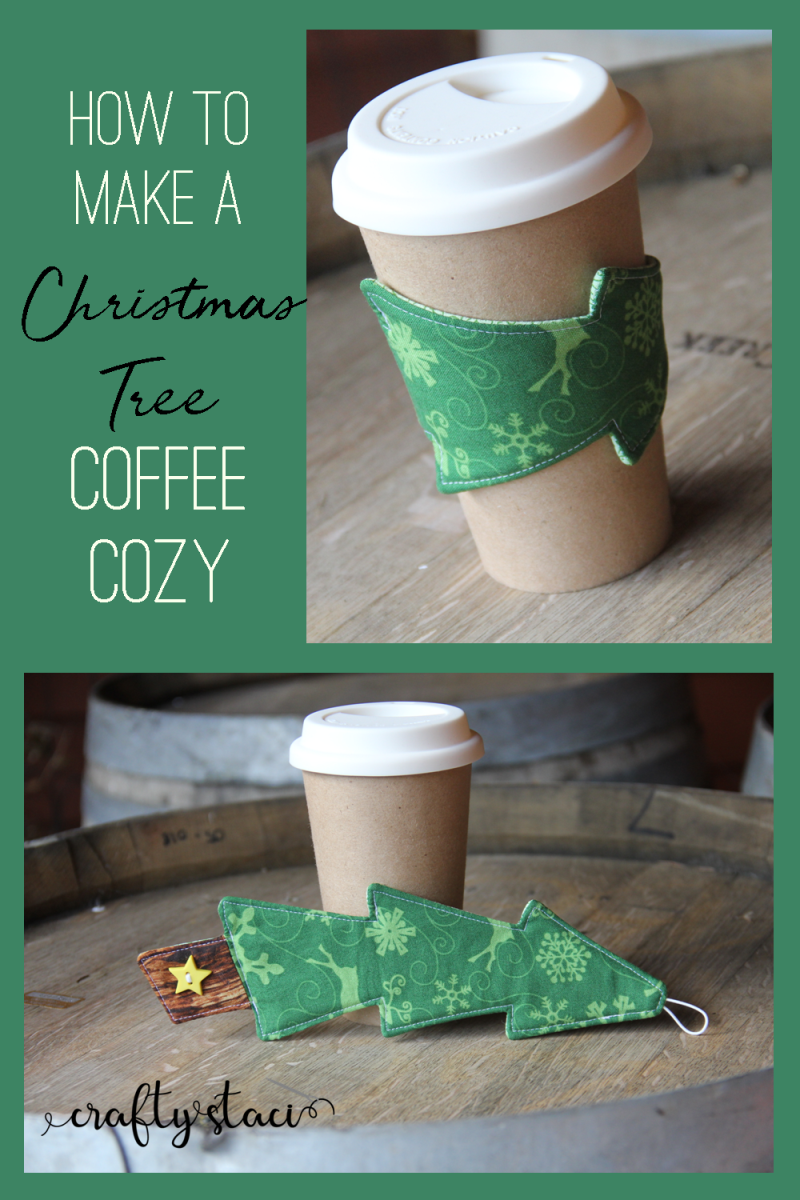 How to make a Christmas Tree Coffee Cozy from craftystaci.com #coffeecozy #coffeecupsleeve #christmassewing