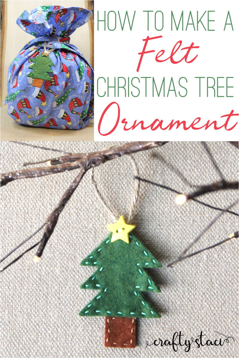How to make a Felt Christmas Tree Ornament on craftystaci#felt #ornament #christmastree