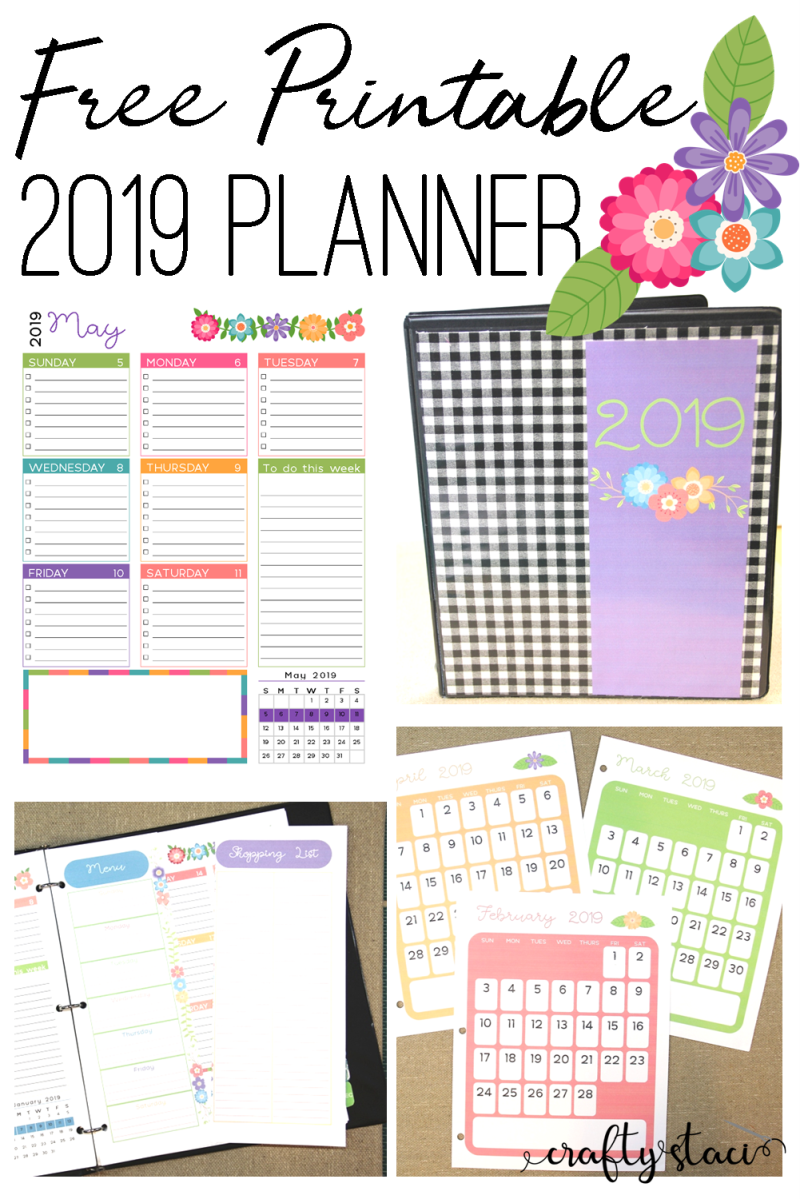Free Printable 2019 Planner from craftystaci.com #freeprintable #printableplanner #2019calendar #2019planner